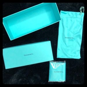 Tiffany sunglass box, cloth bag & cleaning cloth